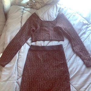 Boohoo two piece midi skirt crop top